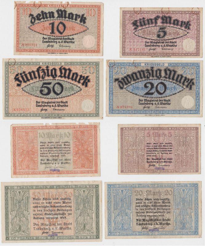 5, 10, 20 und 50 Mark Banknoten Kriegsgeld Landsberg Warthe um 1918 (130457)