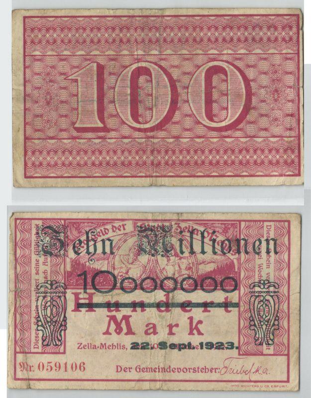 10 Millionen Mark Banknote Stadt Zella Mehlis 22.9.1923 (128597)