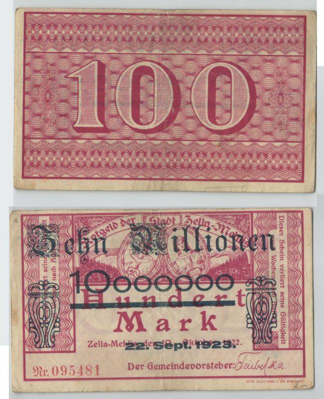 10 Millionen Mark Banknote Stadt Zella Mehlis 22.9.1923 (129801)