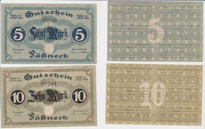 5 und 10 Mark Banknoten Notgeld Stadt Stadt Pößneck um 1918 (130238)