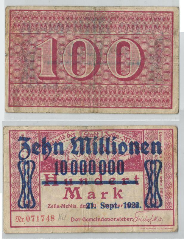 10 Millionen Mark Banknote Stadt Zella Mehlis 21.9.1923 (129228)