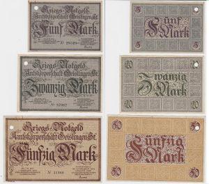 5, 20 und 50 Mark Banknoten Kriegsgeld Amtskörperschaft Geislingen 1918 (130373)