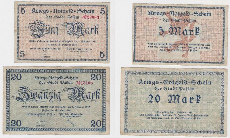 5 und 20 Mark Banknoten Kriegsgeld Stadt Passau Oktober 1918 (130275)