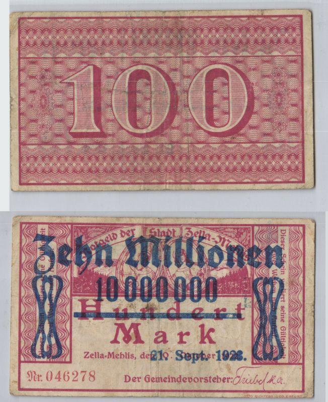 10 Millionen Mark Banknote Stadt Zella Mehlis 21.9.1923 (129229)