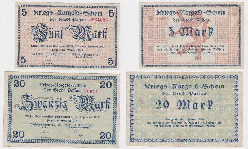 5 und 20 Mark Banknoten Kriegsgeld Stadt Passau Oktober 1918 (130458)