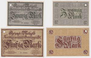 20 und 50 Mark Banknoten Kriegsgeld Amtskörperschaft Geislingen 1918 (130416)