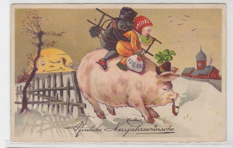 70107 AK Herzliche Neujahrswünsche, Schornsteinfeger auf Glücksschwein 1934