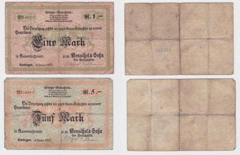 1 & 5 Mark Banknoten Notgeld Hattingen Henschel & Sohn 1917 (122094)