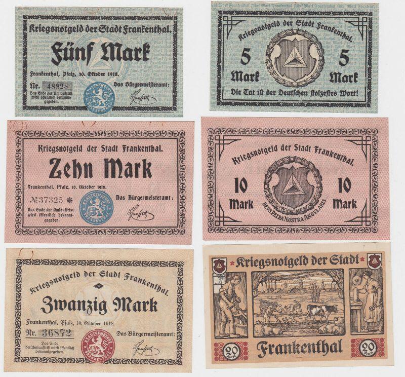 5,10 und 20 Mark Banknoten Kriegsgeld Stadt Frankenthal 10.10.1918 (130418)