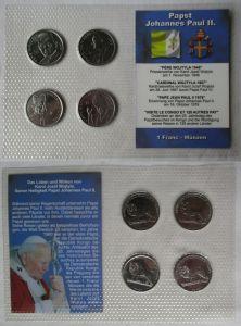 Kursmünzsatz KMS Papst Johannes Paul II. 4 Münzen 1 Franc (129739)