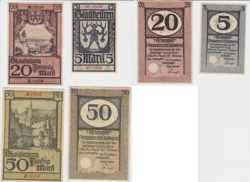 5,20 und 50 Mark Banknoten Kriegsgeld Oberamtsbezirk Blaubeuren (130365)