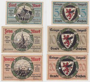 5,10 und 20 Mark Banknoten Stadt Gießen 1.November 1918 (130467)