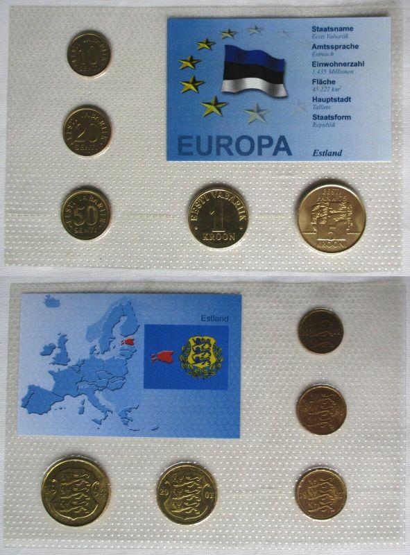 Kursmünzsatz KMS Estland 5 Münzen 10 Senti - 5 Kroon Blister (128569)