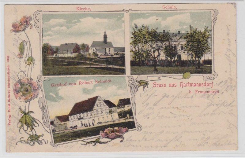 92178 Mehrbild Ak Gruß aus Hartmannsdorf bei Frauenstein 1903