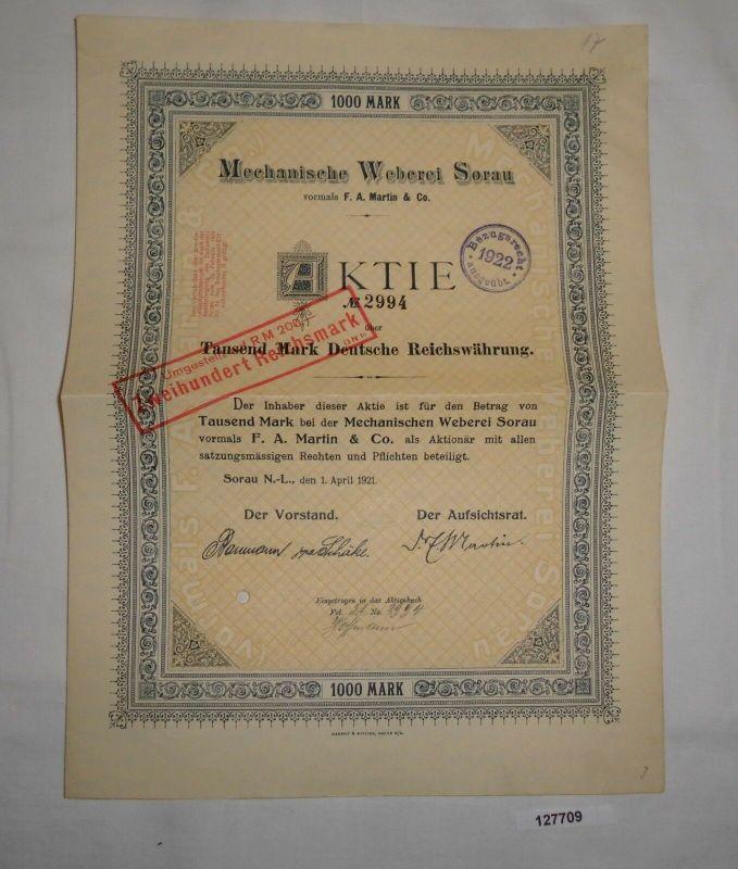 1000 Mark Aktie Mechanische Weberei Sorau 1. April 1921 (127709)