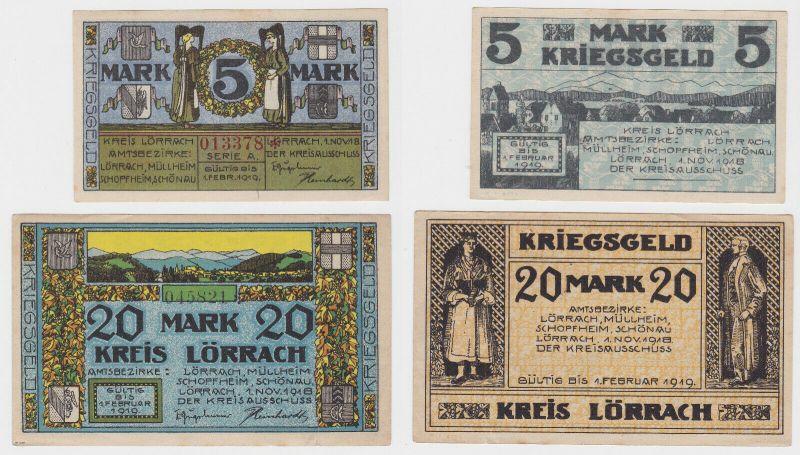 5 und 20 Mark Banknoten Kriegsgeld Kreis Lörrach 1.November 1918 (130365) 0