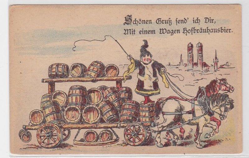 91369 Künstler AK Schönen Gruß send' ich dir, mit einem Wagen Hofbräuhausbier