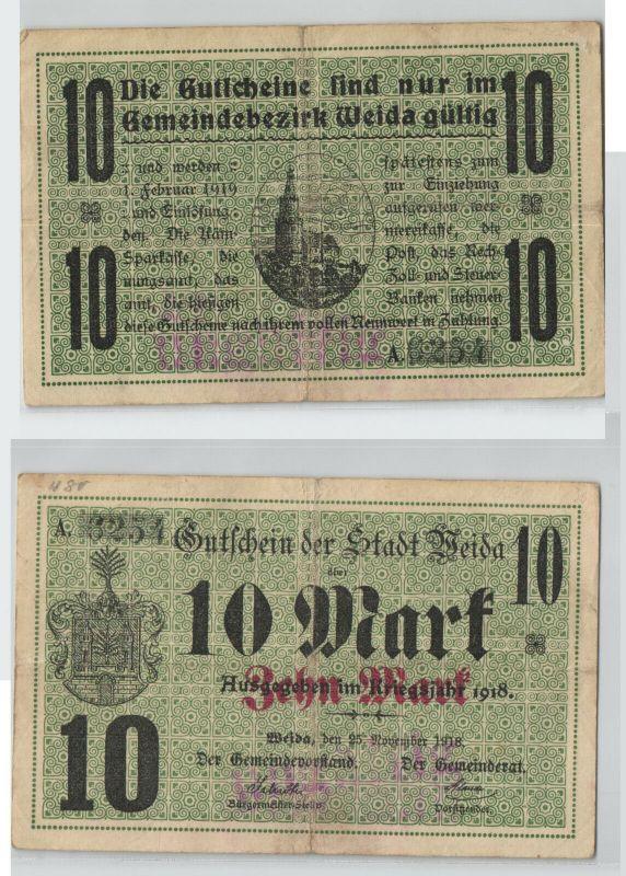 10 Mark Banknote Notgeld Stadt Weida  25.November 1918 (128581)