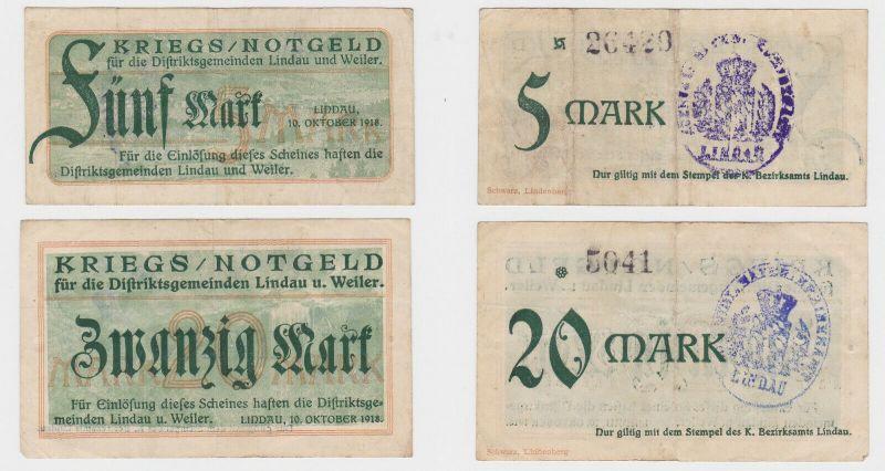 5 und 20 Mark Banknoten Distriktsgemeinde Lindau & Weiler 10.10.1918 (130365)