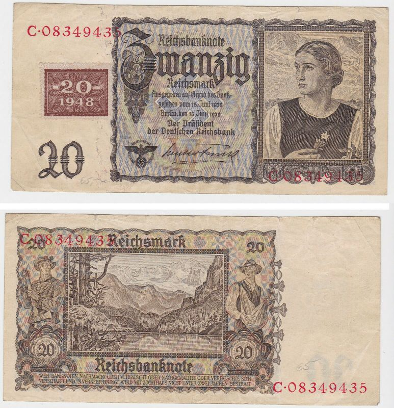 20 Mark Banknote DDR Deutsche Notenbank 1948 Kuponausgabe (130145)