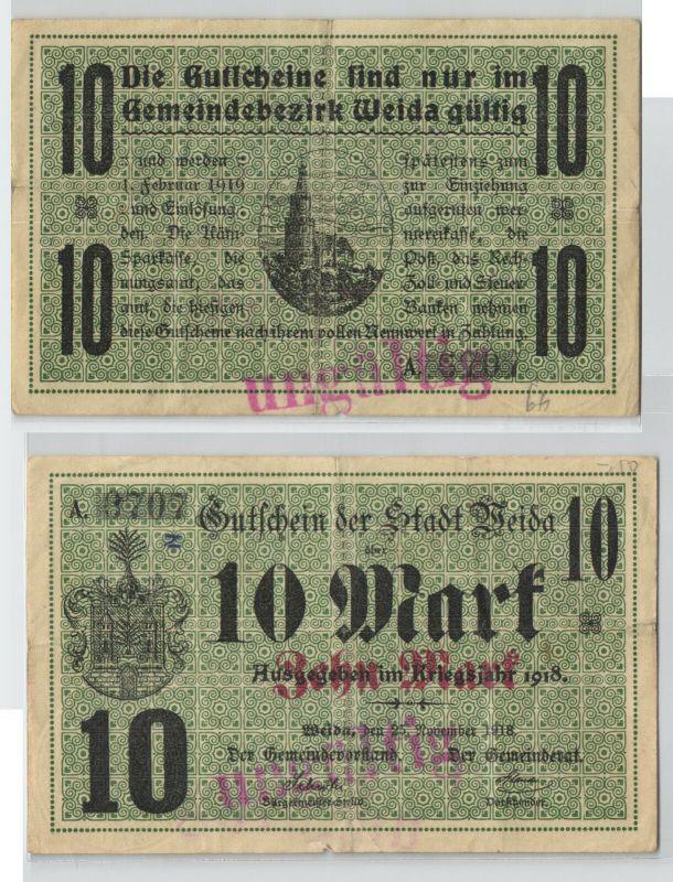 10 Mark Banknote Notgeld Stadt Weida  25.November 1918 (129577)