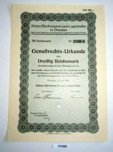 30 RM Genußrechts-Urkunde Aktien-Bierbrauerei zum Lagerkeller Dresden (131469)