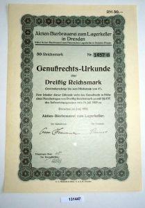 30 RM Genußrechts-Urkunde Aktien-Bierbrauerei zum Lagerkeller Dresden (131447)
