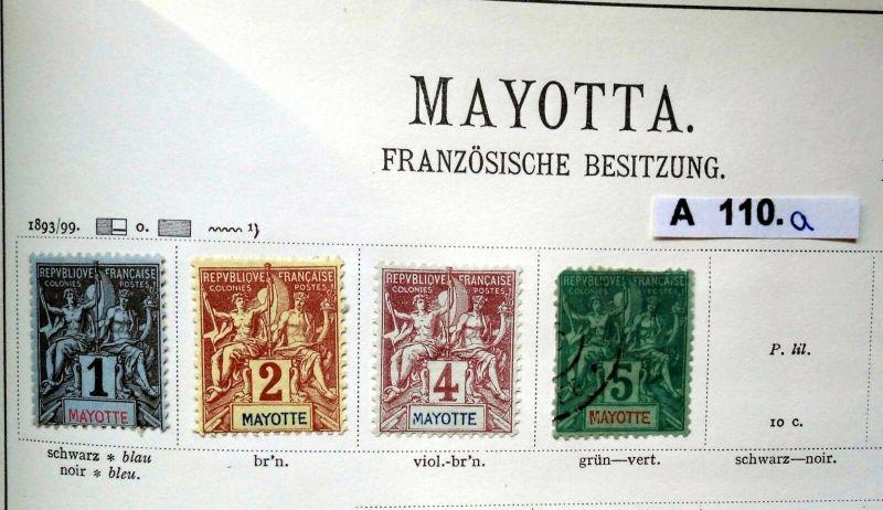 Schöne hochwertige Briefmarkensammlung Mayotta Französische Besitzung ab 1893