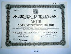 100 Reichsmark Aktie Dresdner Handelsbank AG in Dresden November 1924 (131210)