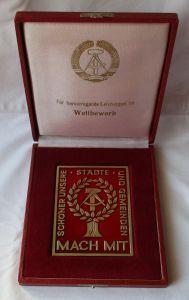 Einseitige DDR Bronze Plakette Mach Mit Wettbewerb - Schild im Etui (119679)