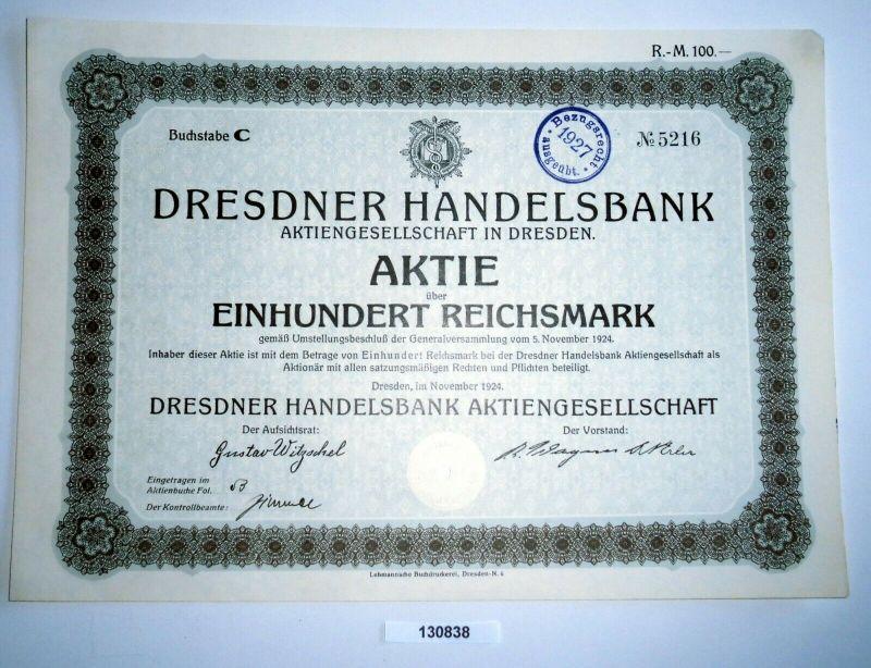 100 Reichsmark Aktie Dresdner Handelsbank AG in Dresden November 1924 (130838)