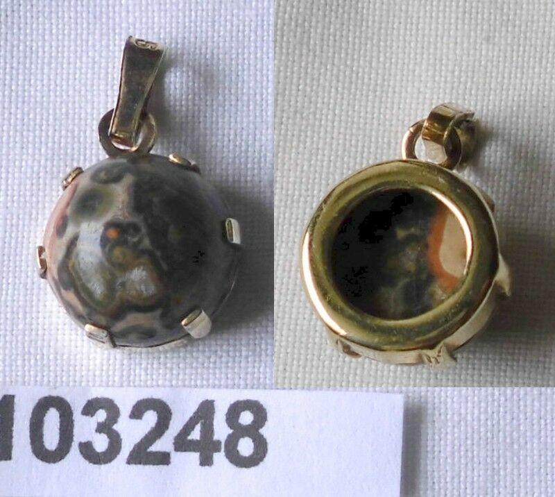 Kleiner Kettenanhänger Silber 935 vergoldet m. marmoriertem Stein ( 103248)