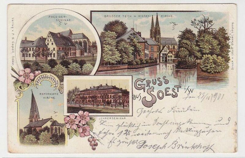 91934 AK Gruss aus Soest - Wiesenkirche, Prediger-Seminar, Lehrerseminar 1901