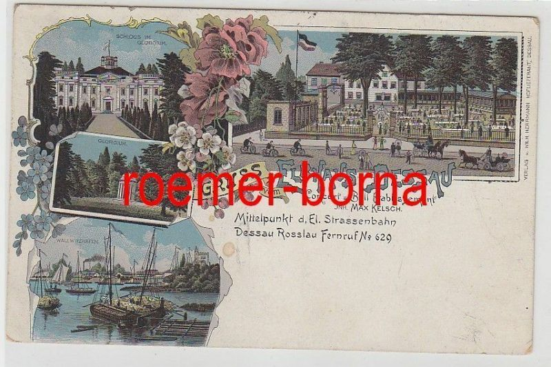 78113 Ak Lithografie Gruss vom Elbhaus Dessau 1913