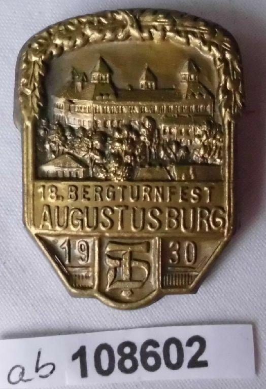 Seltenes Blech Abzeichen 18.Bergturnfest Augustusburg 1930 (108602)