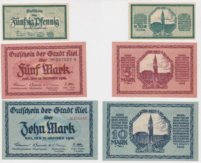 50 Pfennig, 5 & 10 Mark Banknoten Stadt Kiel 1918 (130277)
