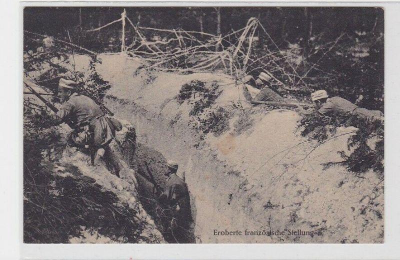 76454 Feldpost AK Eroberte französische Stellung, Schützengraben, Stellungskrieg