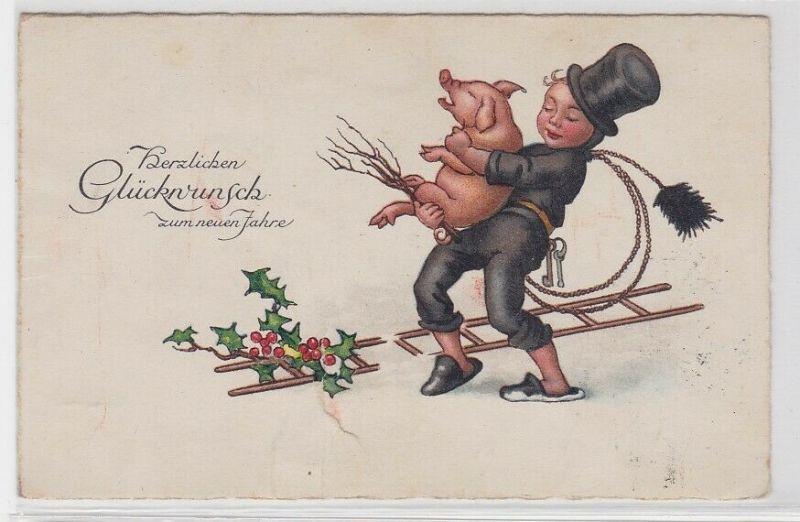 33285 AK Herzlichen Glückwunsch zum neuen Jahre - Schornsteinfeger trägt Schwein