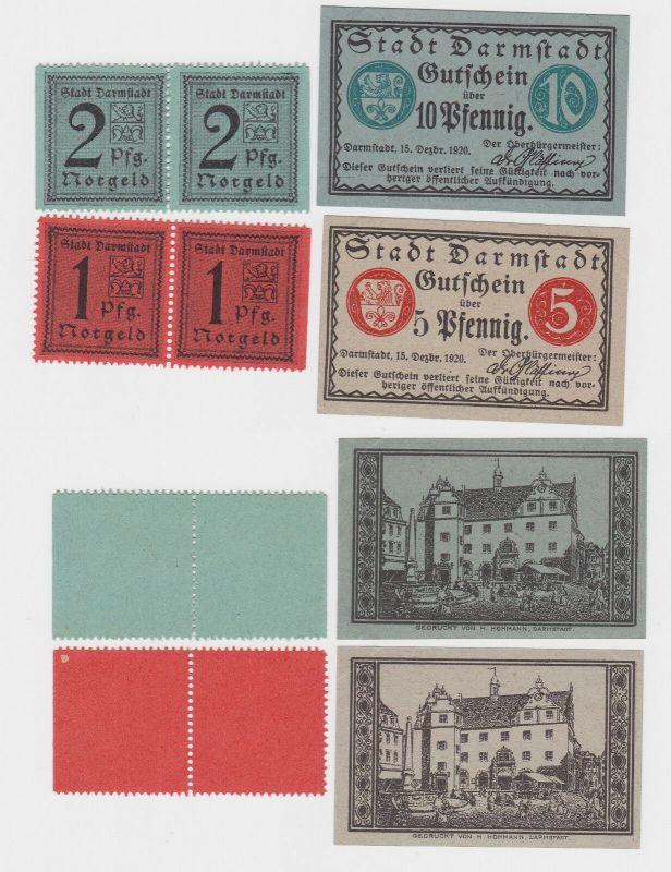6 Banknoten Notgeld Stadt Darmstadt 1920 (122524)