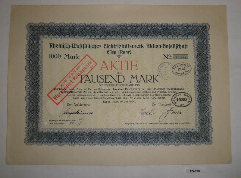 1000 Mark Aktie Rheinisch-Westfälisches Elektrizitätswerk AG Essen 1920 (124519)