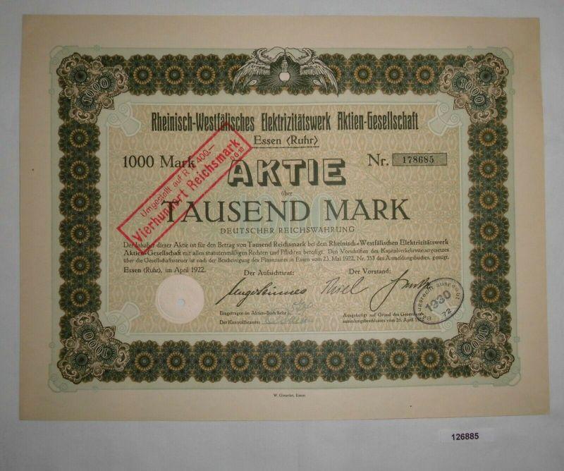1000 Mark Aktie Rheinisch-Westfälisches Elektrizitätswerk AG Essen 1922 (126885)