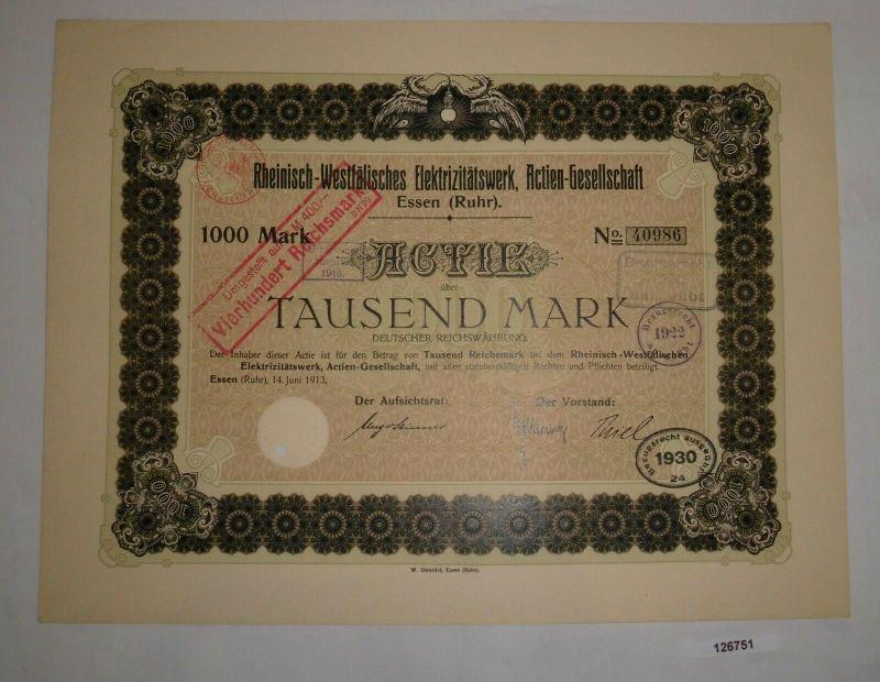 1000 Mark Aktie Rheinisch-Westfälisches Elektrizitätswerk AG Essen 1913 (126751)