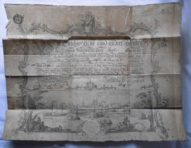 Wunderbarer alter Handwerker Brief Stadt Mannheim 1778 mit Stich (102470)
