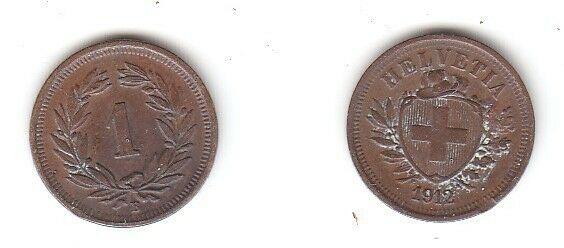 1 Rappen Kupfer Münze Schweiz 1912 B (113969)