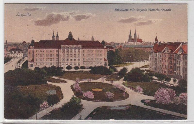 87295 AK Liegnitz - Bilseplatz mit Auguste-Viktoria-Anstalt 1913