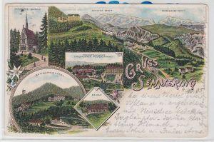 84971 AK Gruss vom Semmering - Kapelle, Hôtel, Maierei, Touristenhäuser 1910
