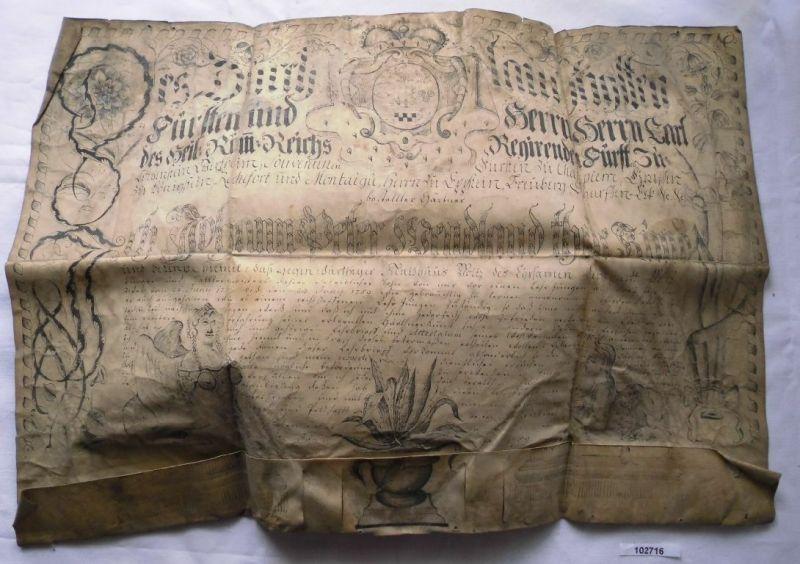 Seltene Schweinsleder Urkunde Löwenstein-Wertheim-Rochefort 1759 (102716)