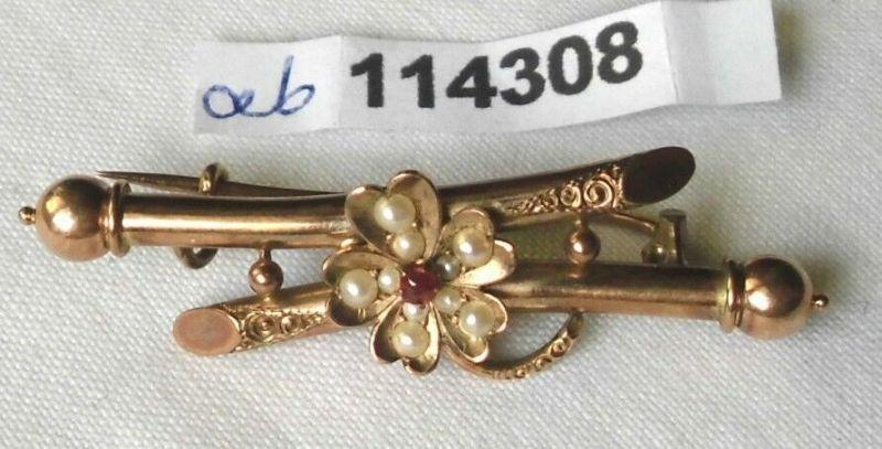 Tolle alte Brosche 333er Gold mit Blüte aus Perlen & rotem Stein (114308)