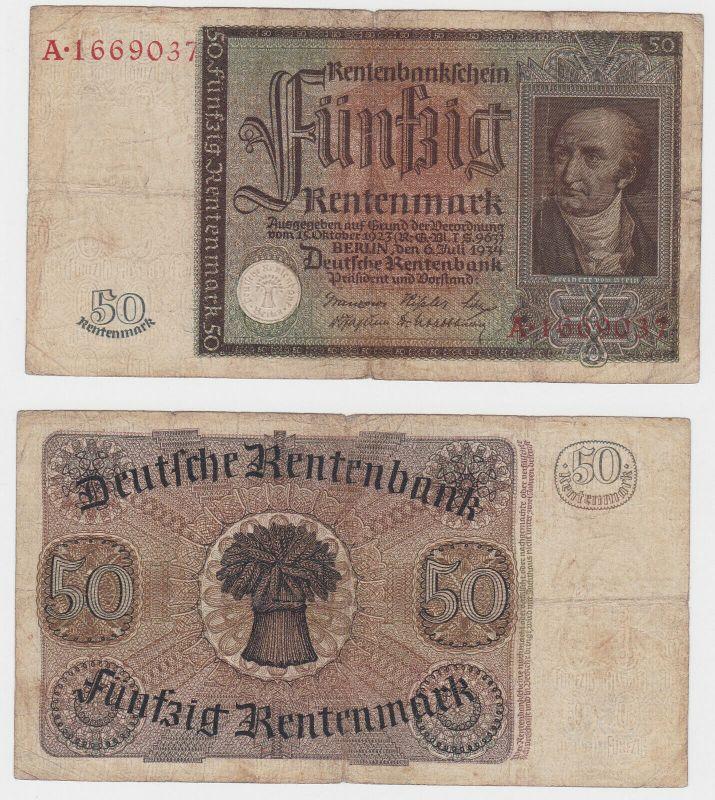 50 Rentenmark Banknote Deutsches Reich 6.7.1934 Rosenberg 165 (130668)