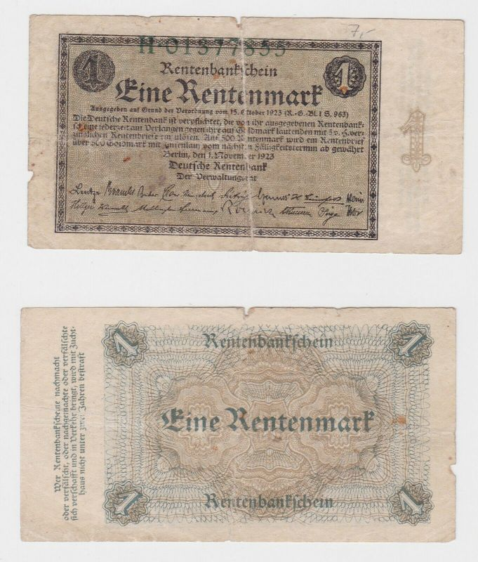1 Rentenmark Banknote Weimarer Republik 1.November 1923 (130392)